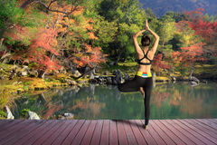 Yoga. Young woman training yoga outdoor in autumn or fall park Royalty Free Stock Images