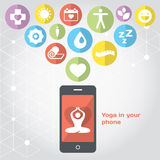Yoga in your phone - healthy lifestyle. Modern illustration and design element stock illustration