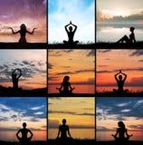 Yoga, zen and meditation set collage. Meditating silhouette Royalty Free Stock Image