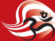 Yoga zen ohm calligraphy warp stripes Royalty Free Stock Images