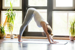 Yoga zu Hause: Abwärtsgerichtete Hundehaltung Stockfotos