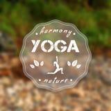Yogaaffisch med ett naturligt landskap EPS JPG stock illustrationer