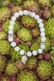 Yogaarmband med naturliga pärlor royaltyfria bilder