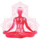 Yogaasana, ontspanning en meditatie Waterverfsilhouet Royalty-vrije Stock Foto