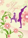 Yogaasanaen poserar med blomman Royaltyfri Bild