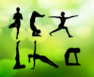 Yogacollagevektor Royaltyfria Bilder