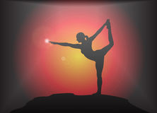 Yogadanser Pose Glare Background Royalty-vrije Stock Foto