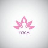 Yogaembleem Vectorillustratie Lotus Concept Stock Afbeelding