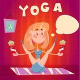 Yogaflicka med mat Fotografering för Bildbyråer