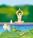 Yogaflicka vid damm vektor illustrationer