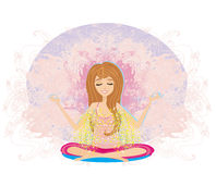 Yogaflickan i lotusblomma placerar Arkivbild