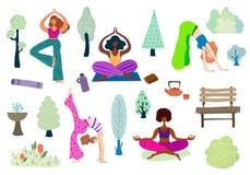 Yogaflickavektor vektor illustrationer