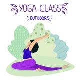 Yogaflickavektor stock illustrationer