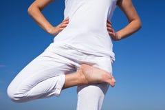 Yogafrau, die Übungen tut stockfotografie