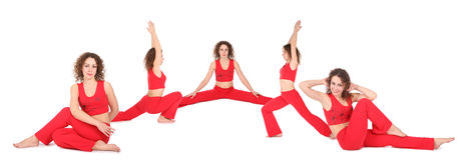Yogafrau sitzen fünf Gruppe Stockfotos