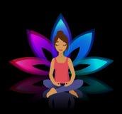 Yogafrauen Asana-Haltung auf Lotoshintergrund Lizenzfreies Stockfoto