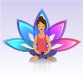 Yogafrauen Asana-Haltung auf Lotoshintergrund Stockfotografie