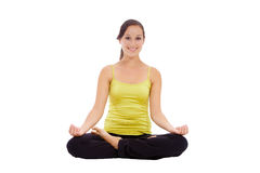 Yogafrauenmeditation lizenzfreie stockbilder