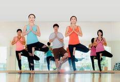 Yogagrupp i studiorum, grupp människor som gör trädet, poserar och na Arkivbilder