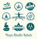 Yogagruppetiketter och symboler stock illustrationer