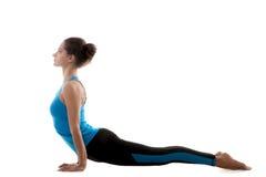 Yogahaltung ardha mukha shvanasana Stockfoto