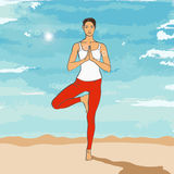 Yogahaltung Vrikshasana Stockfotografie