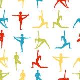 Yogahaltungen als nahtloser Hintergrund ENV, JPG Stockfoto