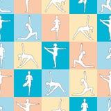 Yogahaltungen als nahtloser Hintergrund ENV, JPG Lizenzfreies Stockbild