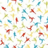 Yogahaltungen als nahtloser Hintergrund ENV, JPG Lizenzfreie Stockfotografie