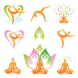 Yogaikonensymbole Stockbilder