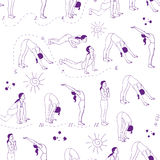 Yogaillustratie Suryanamaskara Naadloos patroon EPS, JPG Royalty-vrije Stock Fotografie
