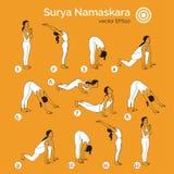 Yogaillustration Surya-namaskara ENV, JPG Stockbilder