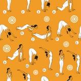 Yogaillustration Surya-namaskara Nahtloses Muster ENV, JPG Stockfotos