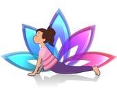 Yogakind Asana-Haltung auf Lotoshintergrund Stockfoto
