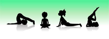 Yogakinder Asanas wirft Schattenbild auf Stockfoto