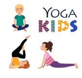 Yogakinder Asanas wirft Vektorillustration auf Stockbild
