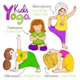 Yogakinder eingestellt Stockbild