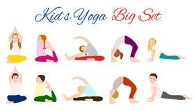 Yogakinder eingestellt Gymnastik für Kinder Stockfotografie