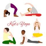 Yogakinder eingestellt Gymnastik für Kinder Stockbild