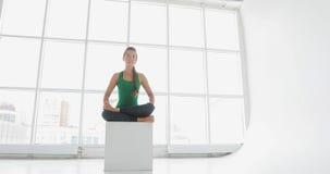 Yogaklasse von den Frauen, die gesunden Lebensstil im Eignungsstudio ausüben Geeignete Frauen, die Yoga in der Eignungshalle tun stock video