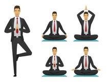 Yogakontorsmannen poserar illustrationen Royaltyfri Foto