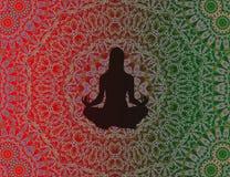 Yogakvinna med mandalaen Fotografering för Bildbyråer