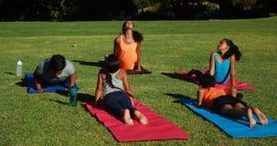 Yogalehrer, der Kinder anweist, wenn Übung durchgeführt wird stock video footage