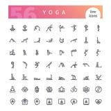 Yogalinje symbolsuppsättning stock illustrationer