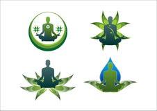 Yogalogogrünlotosblatt-Wasserikone Stockbilder