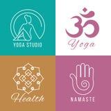 Yogalogouppsättning Blom- och naturharmoni, vård- vektorsymboler för zen vektor illustrationer