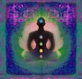 Yogalotoshaltung. Padmasana mit farbigen chakra Punkten. Lizenzfreie Stockfotos