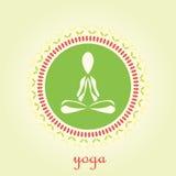 Yogalotosvektorlogo-Designschablone Schönheit, Badekurort, entspannen sich, massieren, Meditation, Nirwanakonzeptikone Lizenzfreies Stockfoto