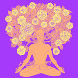 Yogalotusblommaposition Royaltyfri Bild