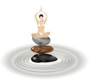Yogamädchen auf Steinen vektor abbildung